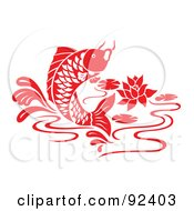 Royalty Free RF Clipart Illustration Of A Red Chinese Styled Koi Fish Jumping In A Lily Pond