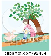 Royalty Free RF Clipart Illustration Of A Mother Helping Her Child Walk Towards A Goose In A Park