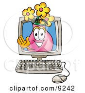Clipart Picture Of A Vase Of Flowers Mascot Cartoon Character Waving From Inside A Computer Screen