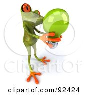 Royalty Free RF Clipart Illustration Of A 3d Springer Frog With A Light Bulb 1