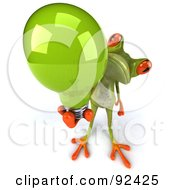 Royalty Free RF Clipart Illustration Of A 3d Springer Frog With A Light Bulb 2