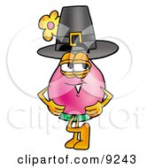 Clipart Picture Of A Vase Of Flowers Mascot Cartoon Character Wearing A Pilgrim Hat On Thanksgiving by Toons4Biz