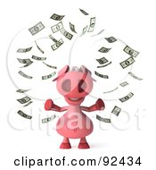 Royalty Free RF Clipart Illustration Of A 3d Pookie Pig Character Surrounded By Money 1