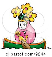 Vase Of Flowers Mascot Cartoon Character Rowing A Boat