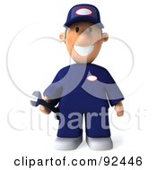 Royalty Free RF Clipart Illustration Of A 3d Toon Guy Auto Mechanic Facing Front