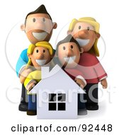 Royalty Free RF Clipart Illustration Of A 3d Happy Caucasian Family With A House 2