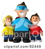 Royalty Free RF Clipart Illustration Of A 3d Super Dad With His Children by Julos