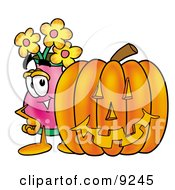 Vase Of Flowers Mascot Cartoon Character With A Carved Halloween Pumpkin