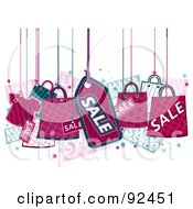 Royalty Free RF Clipart Illustration Of Pink Retail Items Hanging From Strings by BNP Design Studio