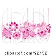 Royalty Free RF Clipart Illustration Of Pink Flowers Hanging From Strings