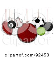 Royalty Free RF Clipart Illustration Of Sports Balls Hanging From Strings by BNP Design Studio