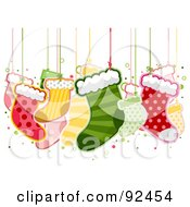 Royalty Free RF Clipart Illustration Of Christmas Stockings Hanging From Strings by BNP Design Studio