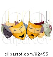 Royalty Free RF Clipart Illustration Of Face Masks Hanging From Strings by BNP Design Studio