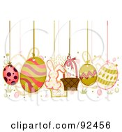 Royalty Free RF Clipart Illustration Of Easter Items Hanging From Strings