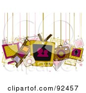 Royalty Free RF Clipart Illustration Of Entertainment Items Hanging From Strings