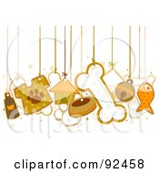 Royalty Free RF Clipart Illustration Of Dog Items Hanging From Strings by BNP Design Studio