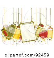 Royalty Free RF Clipart Illustration Of School Items Hanging From Strings