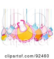 Royalty Free RF Clipart Illustration Of Baby Items Hanging From Strings by BNP Design Studio