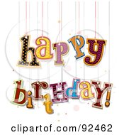 Royalty Free RF Clipart Illustration Of Happy Birthday Hanging From Strings by BNP Design Studio