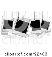 Royalty Free RF Clipart Illustration Of Blank Polaroids Hanging From Strings