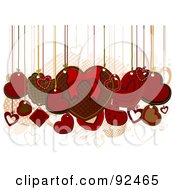 Royalty Free RF Clipart Illustration Of Valentine Hearts Hanging From Strings