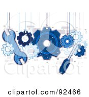 Royalty Free RF Clipart Illustration Of Blue Tools And Gears Hanging From Strings