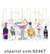 Royalty Free RF Clipart Illustration Of Cocktails And Bottles Hanging From Strings