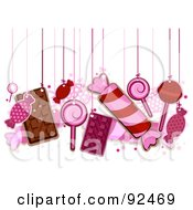 Royalty Free RF Clipart Illustration Of Pink Candy Hanging From Strings