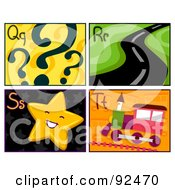 Royalty Free RF Clipart Illustration Of A Digital Collage Of Q R S And T Letter Flashcards With Question Marks Road Star And Train by BNP Design Studio