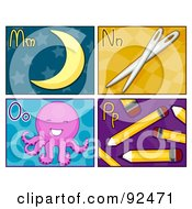 Royalty Free RF Clipart Illustration Of A Digital Collage Of M N O And P Letter Flashcards With The Moon Needles Octopus And Pencils by BNP Design Studio