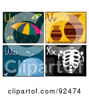 Royalty Free RF Clipart Illustration Of A Digital Collage Of U V W And X Letter Flashcards With Umbrellas Vases A Whale And Xray by BNP Design Studio