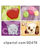 Royalty Free RF Clipart Illustration Of A Digital Collage Of A B C And D Letter Flashcards With An Apple Balloons Cat And Dog