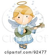 Cute Blond Angel Singing And Playing A Guitar
