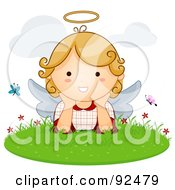 Royalty Free RF Clipart Illustration Of A Cute Blond Angel With Butterflies In The Grass by BNP Design Studio