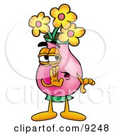 Vase Of Flowers Mascot Cartoon Character Whispering And Gossiping by Toons4Biz