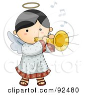 Royalty Free RF Clipart Illustration Of A Cute Angel Playing A Horn