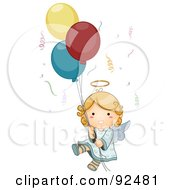 Cute Blond Angel Floating With Confetti And Balloons