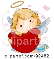 Royalty Free RF Clipart Illustration Of A Cute Blond Angel Hugging A Heart Pillow by BNP Design Studio