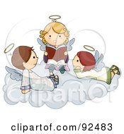 Royalty Free RF Clipart Illustration Of Three Cute Cute Angels Reading On A Cloud