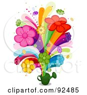 Royalty Free RF Clipart Illustration Of A Floral Rainbow Bursting From A Watering Can by BNP Design Studio