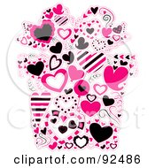 Royalty Free RF Clipart Illustration Of A Collage Of Pink Hearts Forming A Gift