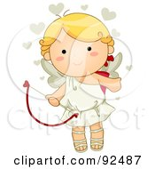 Royalty Free RF Clipart Illustration Of A Cute Blond Cupid With Beige Hearts by BNP Design Studio
