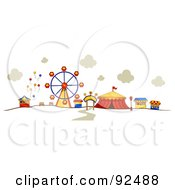Royalty Free RF Clipart Illustration Of A Ferris Wheel And Circus Tent At A Carnival by BNP Design Studio