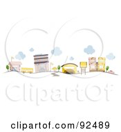 Royalty Free RF Clipart Illustration Of A Road Leading To A School Campus