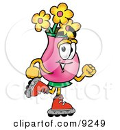 Vase Of Flowers Mascot Cartoon Character Roller Blading On Inline Skates