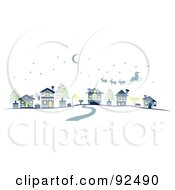 Royalty Free RF Clipart Illustration Of A Road Leading To Santa Over A Village by BNP Design Studio