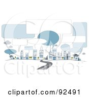 Royalty Free RF Clipart Illustration Of A Road Leading To City Buildings With Speech Balloons