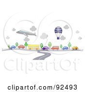 Royalty Free RF Clipart Illustration Of A Road Merging Into Traffic Under A Balloon And Plane by BNP Design Studio