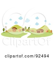 Royalty Free RF Clipart Illustration Of A Road Leading To A Farm