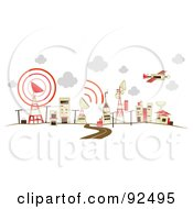 Royalty Free RF Clipart Illustration Of A Road Leading To Communications Buildings by BNP Design Studio